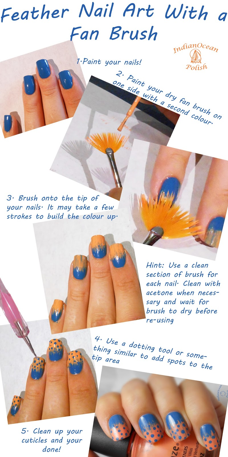 Indian ocean polish spotted feather nail art with a fan brush thanks very much for reading chanfie xox prinsesfo Image collections