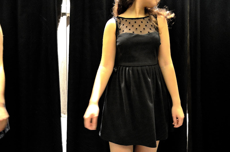 sheer polka dotted sweetheart black dress