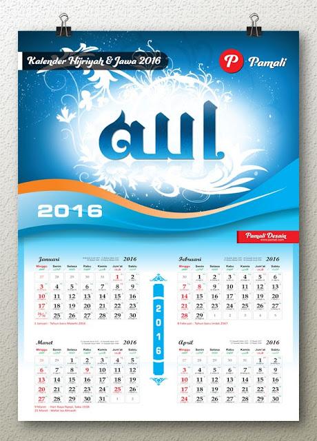 file desain template kalender 2016 hijriyah & tanggalan jawa