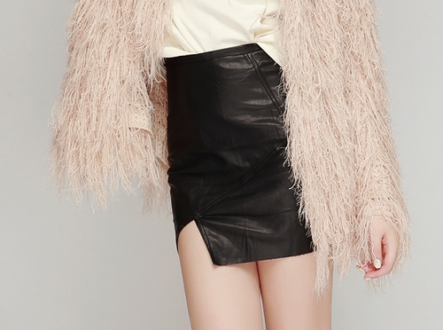 Leather Skirt with Edge Slit