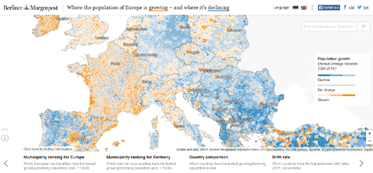 2015 Map Of Europe.Maps Mania Mapping Population Trends In Europe