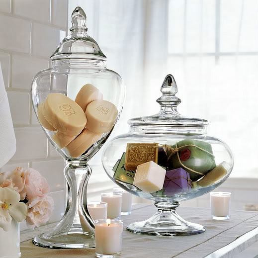 The creative cubby pinspiration friday apothecary jars for Bathroom decor vases