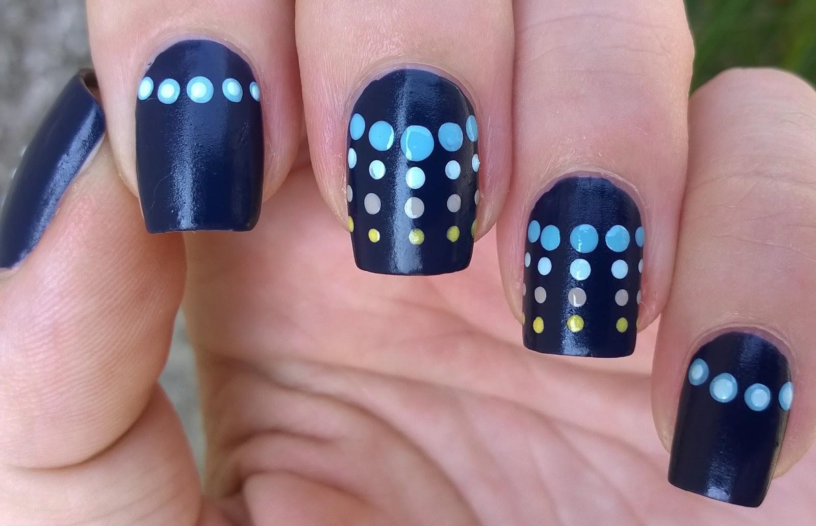 Life World Women: Dark Blue Dotticure Nail Art Using \'Suede\' Nail Polish
