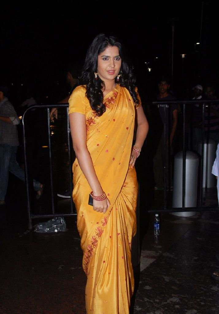 Beautiful Deeksha Seth in Yellow Saree at Santosham Awards