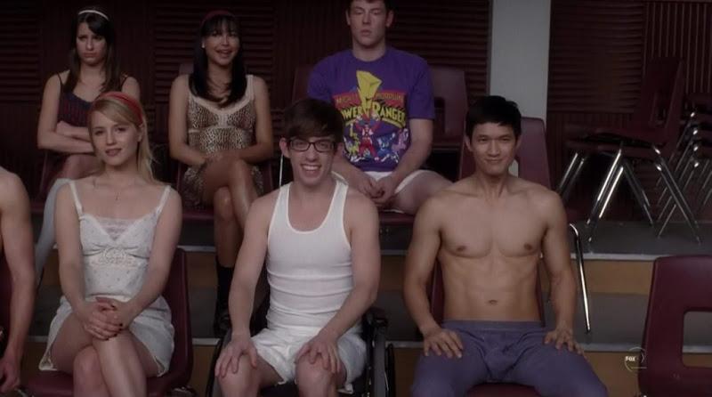 Chord Overstreet  and Harry Shum Jr. Shirtless on Glee s2e13