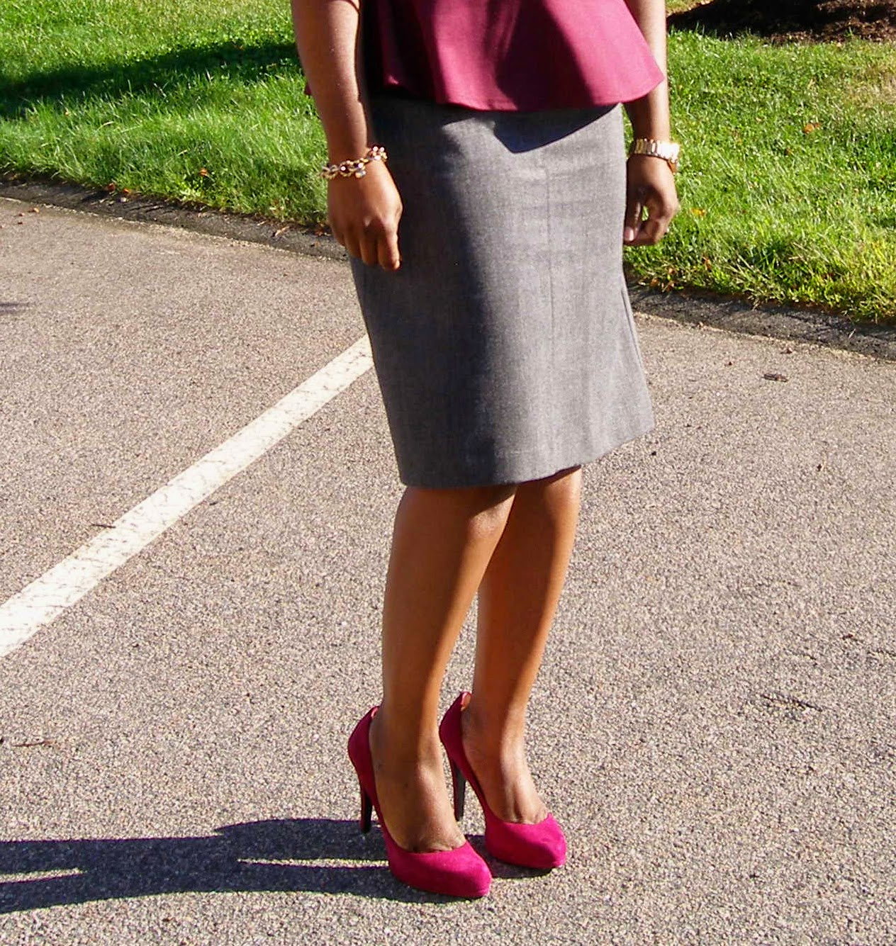 Comfortable Pumps, Grey and hot pink