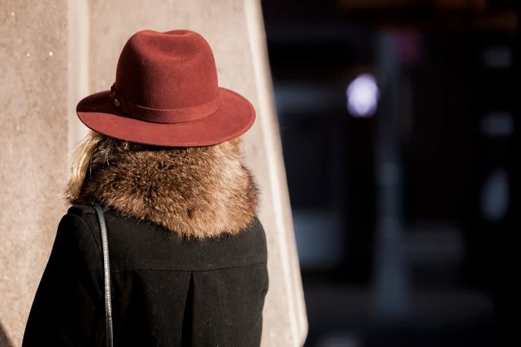 Vintage fur collar burgundy wide brim fedora Bailey of Hollywood Salmagundi Boston