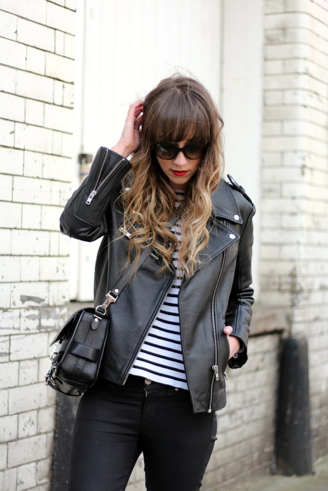 Leather jacket urban outfitters - Jacket Urban Outfitters Jumper Zara Jeans Paige Shoes Kenzo Bag Proenza Schouler Ps11 Sunglasses Rayban