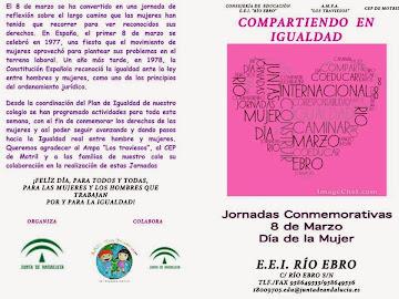 """Jornadas realizadas en el cole """"Compartiendo en Igualdad""""."""