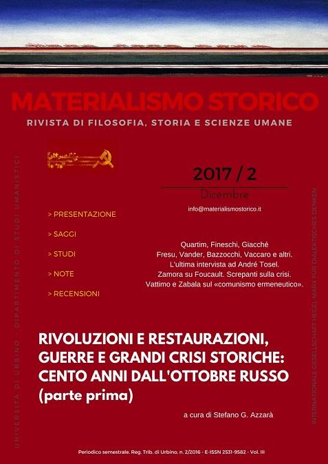 """E' on line il terzo numero di """"Materialismo Storico"""" (2/2017)"""