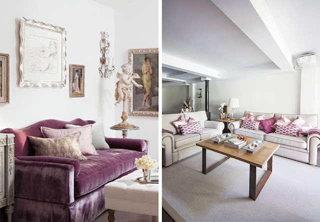 Sofá tapizado con terciopelo