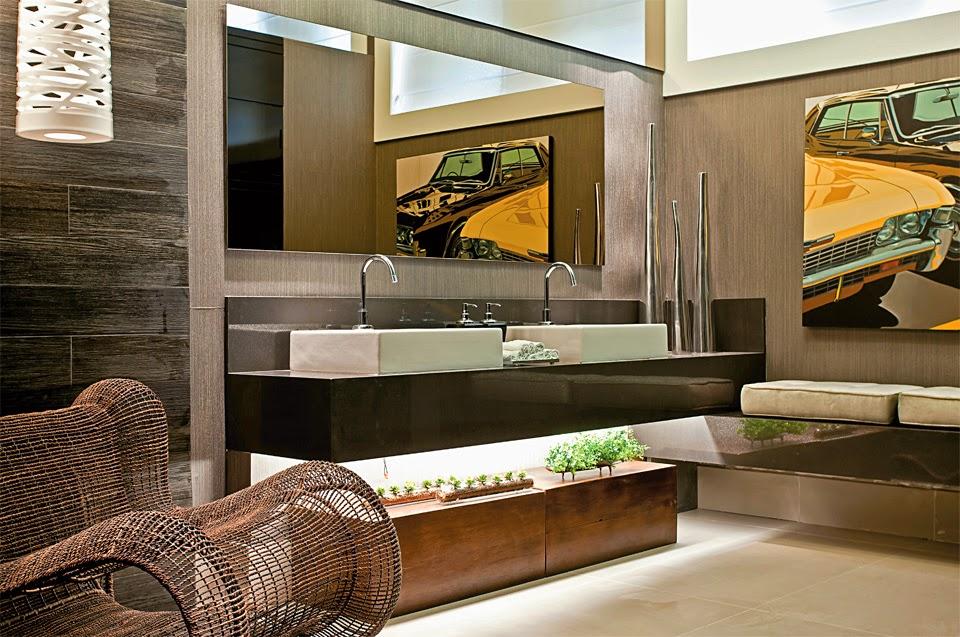 40 Bancadas de banheiroslavabos  veja modelos modernos e maravilhosos!  De -> Banheiros Modernos Marrom
