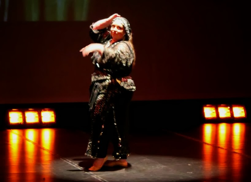 Melanie dancing baladi at Theatr Mwldan