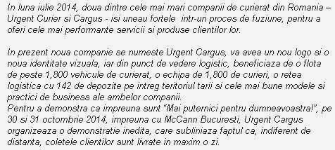 Urgent Curier + Cargus = Urgent Cargus