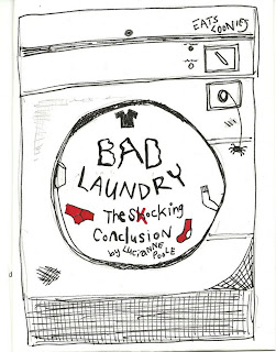 "A drawing of a beat up old dryer with graffiti on it and ""Bad Laundry"" scrawled across the front."