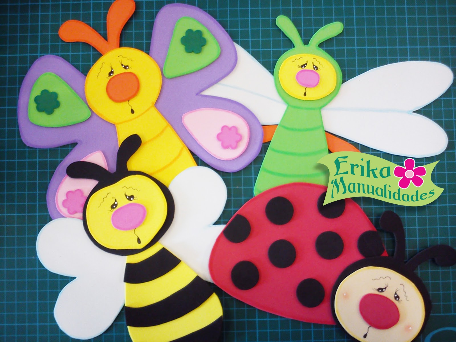 Decoracion infantil con goma flores de goma eva con base for Decoracion con goma eva