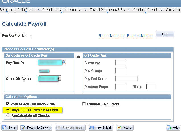 after updating the payline status run pay calculation by selecting the option below