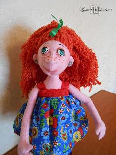 текстильная кукла на проволочном каркасе Клариса