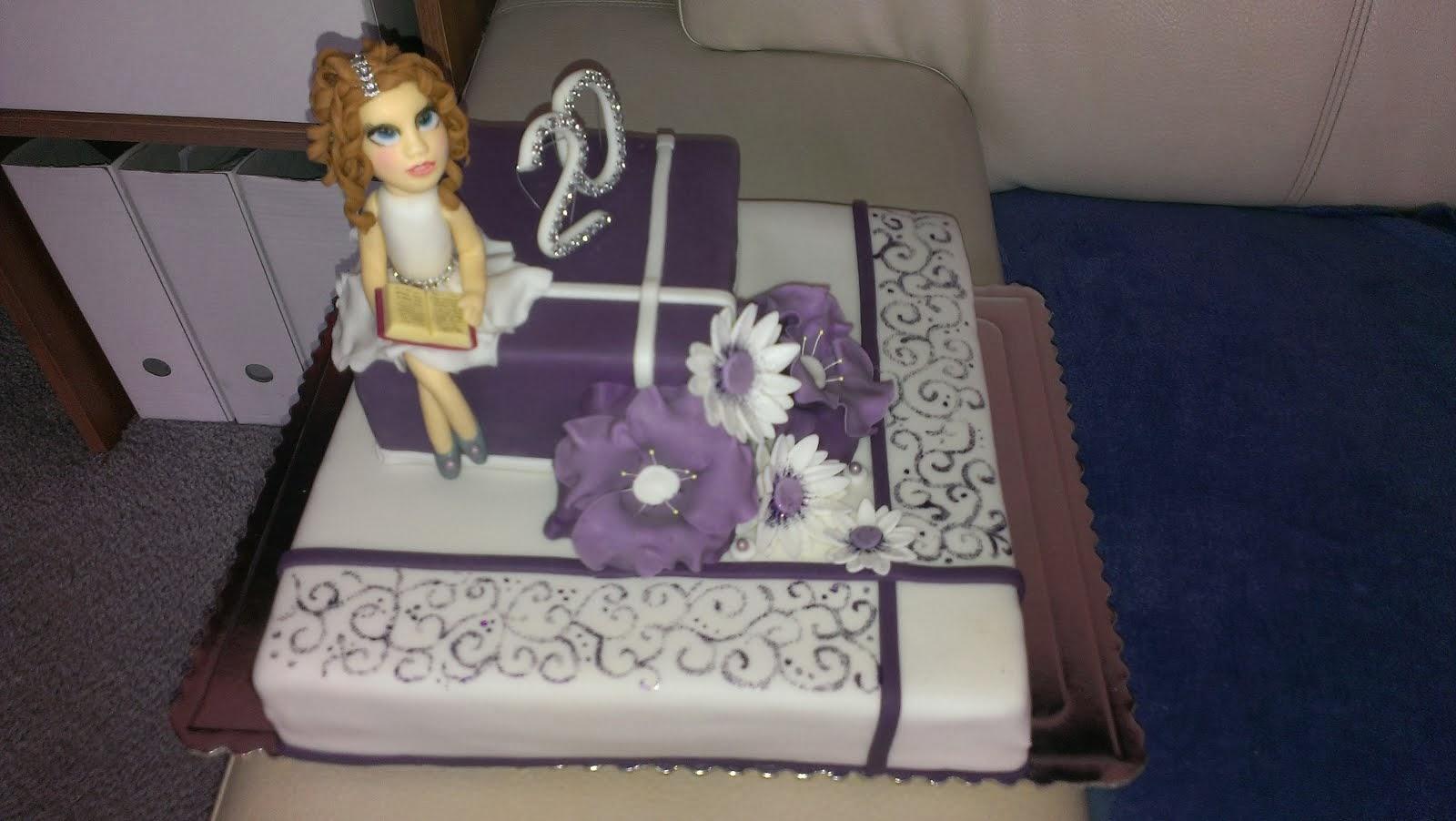 Torta k 20 narodeninám fialová