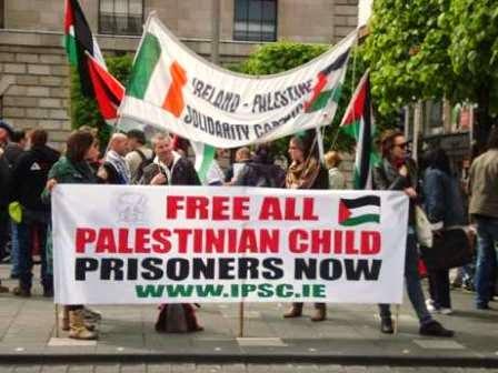 Manifestação pela libertação ds crianças palestinas presas por Israel