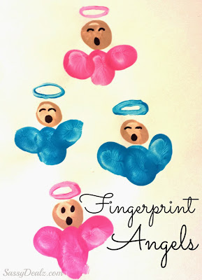 christmas fingerprint angel craft for kids
