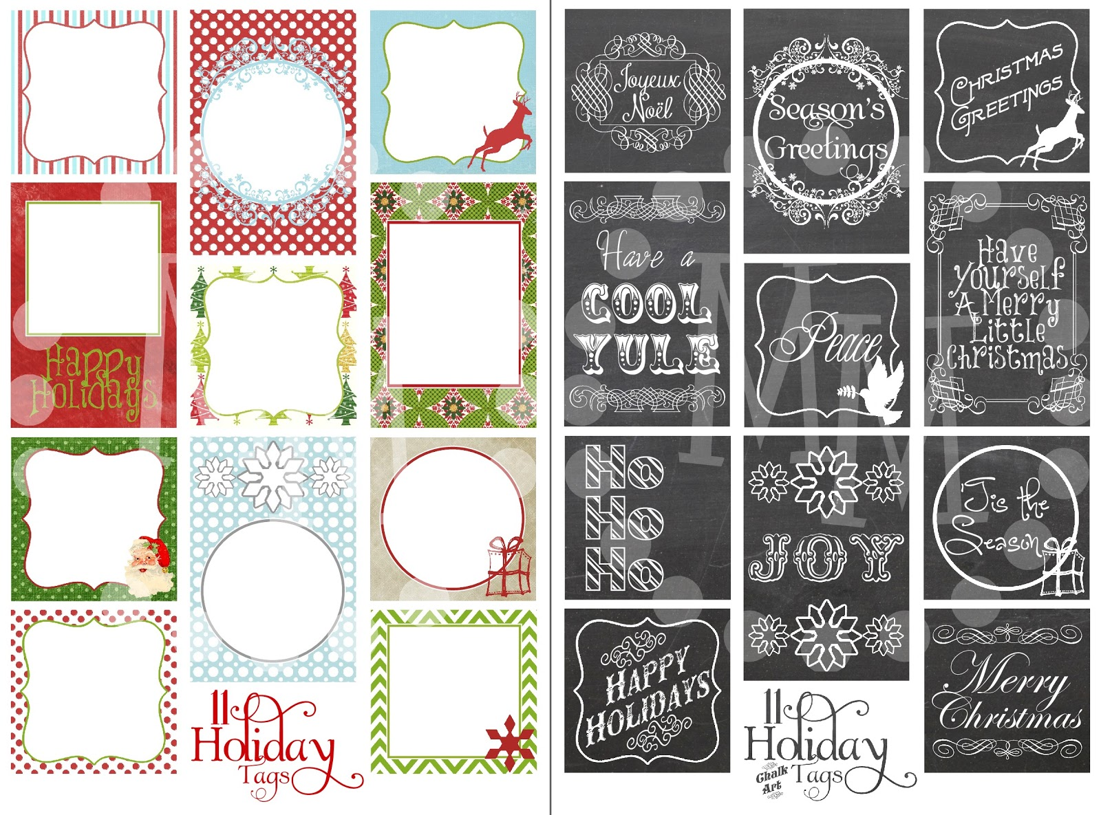 printable christmas tags 2 sets
