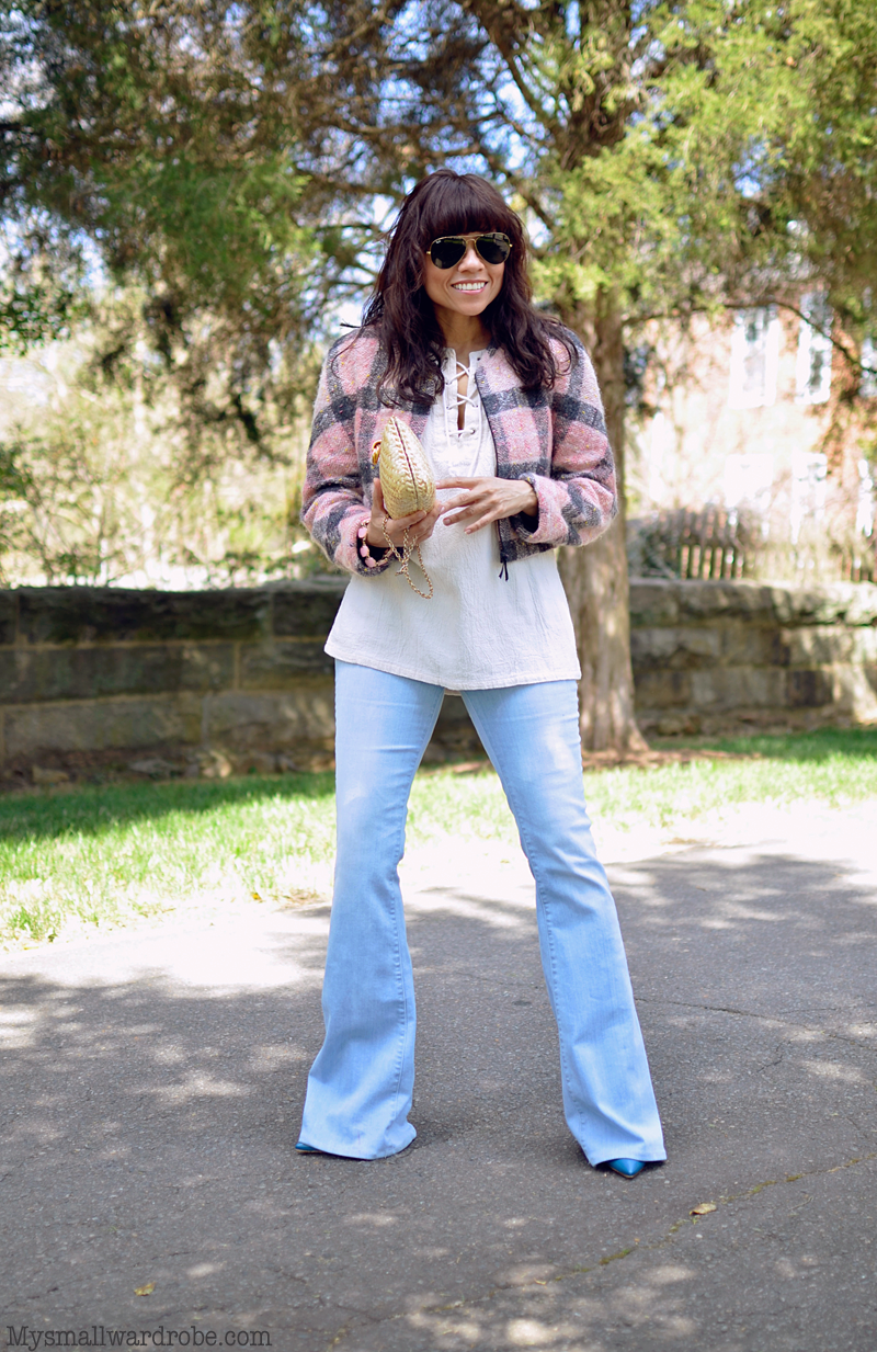 Light wash flare jeans street style