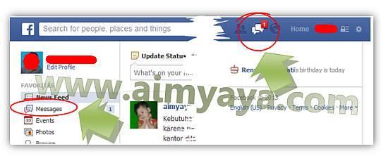 Gambar: Melihat daftar pesan masuk (inbox) facebook