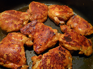 Spice Rubbed Chicken Browning in Pan