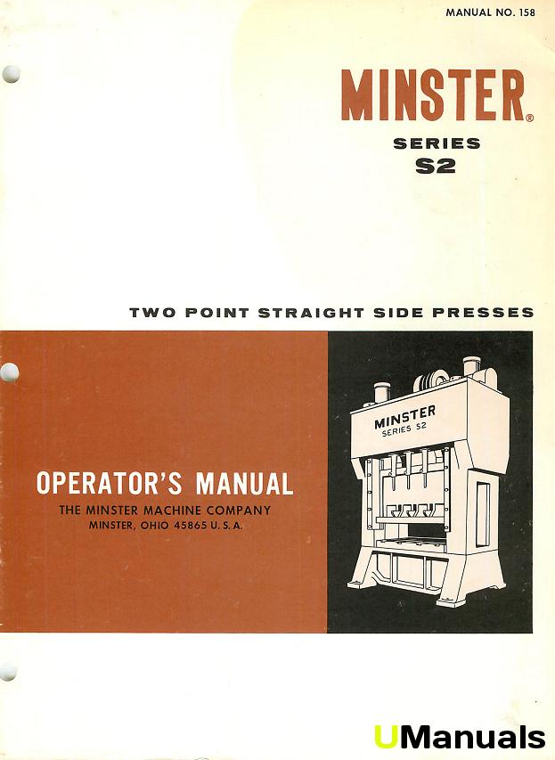 Machinery Manuals Minster Press Manuals