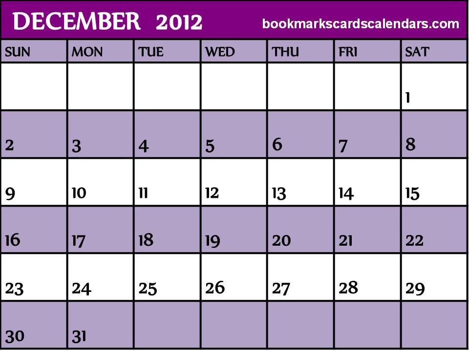 Free Calendars 2015, Bookmarks, Cards: December 2012 Blank Calendar ...