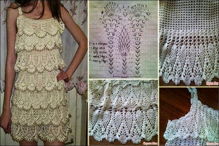 vestido con volados al crochet