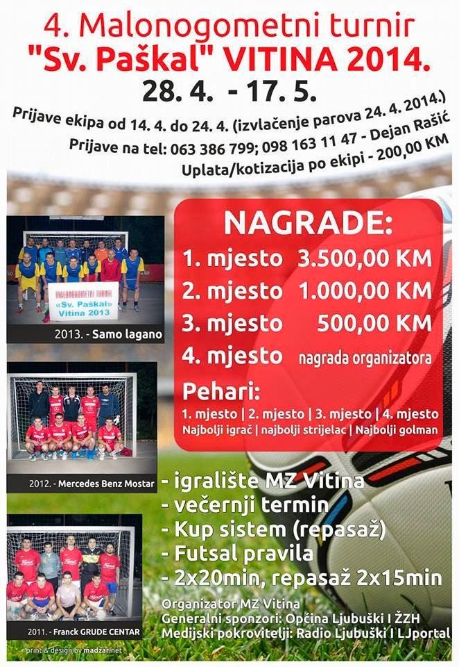 """Najava: 4. malonogometni turnir """"Sv. Paškal, Vitina 2014."""""""