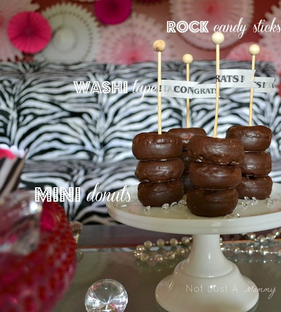 bling baby shower table donuts