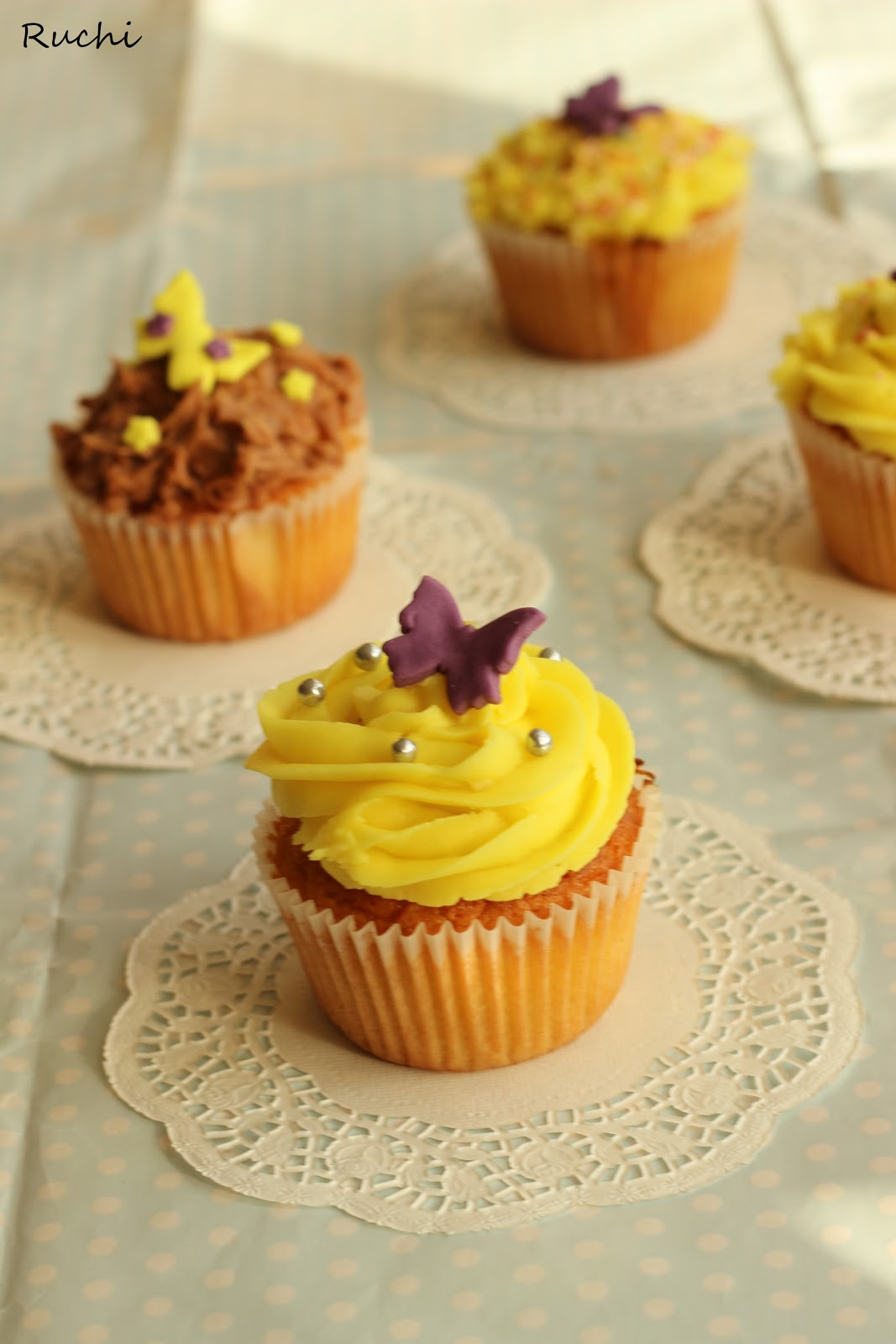 RUCHI: Coconut Cupcake two ways...with best ever Vanilla butter cream ...