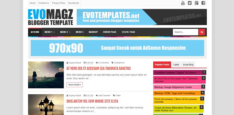 Template Evo Magz Responsive Blogger Template Rilis v1.40
