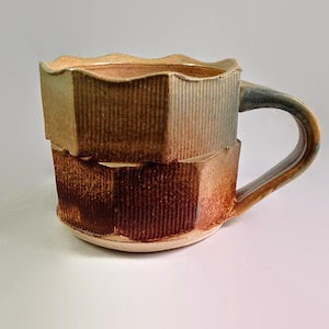 Double Fluted, Ash Glazed Mug by Lori Buff