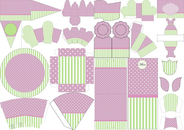 Mint, Purple, Stripes and Polka Dots Free Printable Kit.