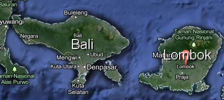 Lombok Island in right side of Bali Insland