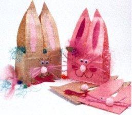 Cestinha porta-chocolates para páscoa de coelho