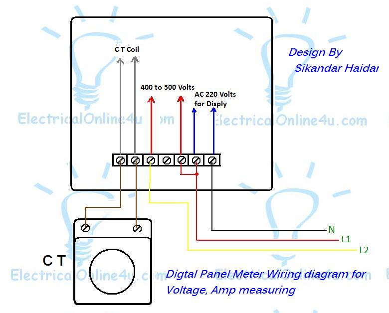 Wiring Diagram Current Transformer : Digital multi voltmeter ammeter hz wiring with diagram
