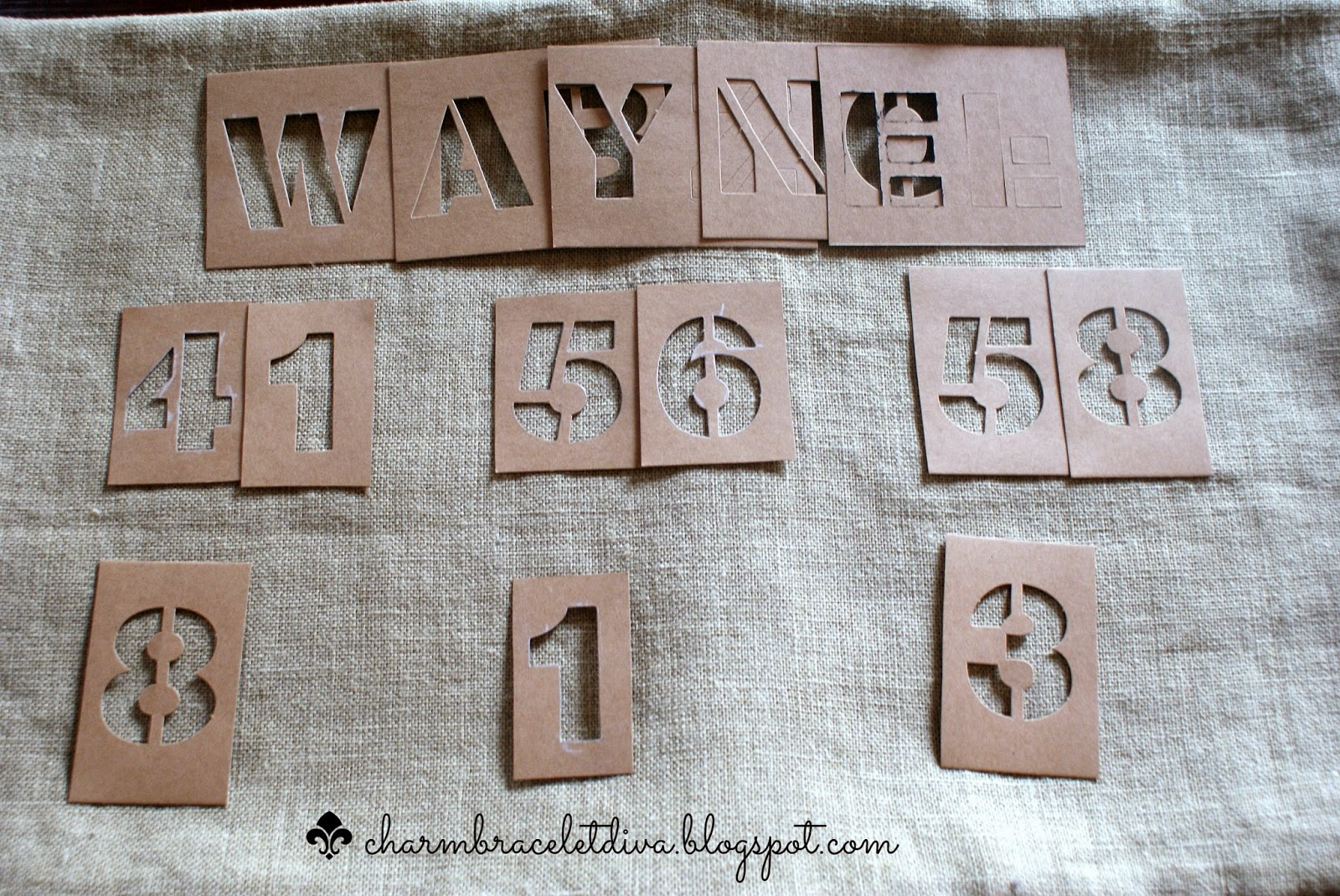 two inch stencils on jute pillow cover