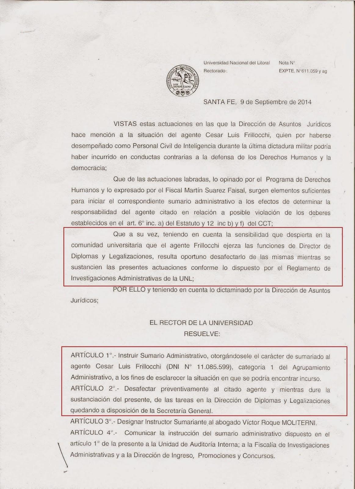 La resolución del rectorado de la UNL.