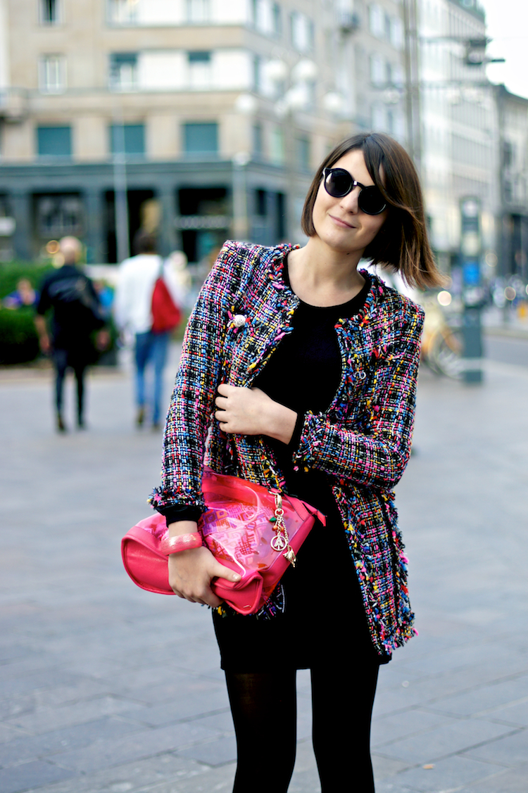 tweed coat, multicolor blazer, chanel style, chic jacket, round sunglasses, pvc pink clutch