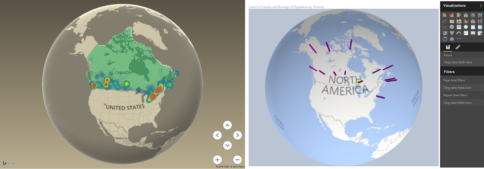 Data Adventures Excel Power Map Vs Power BI Globe Map Visualization - Us map on globe