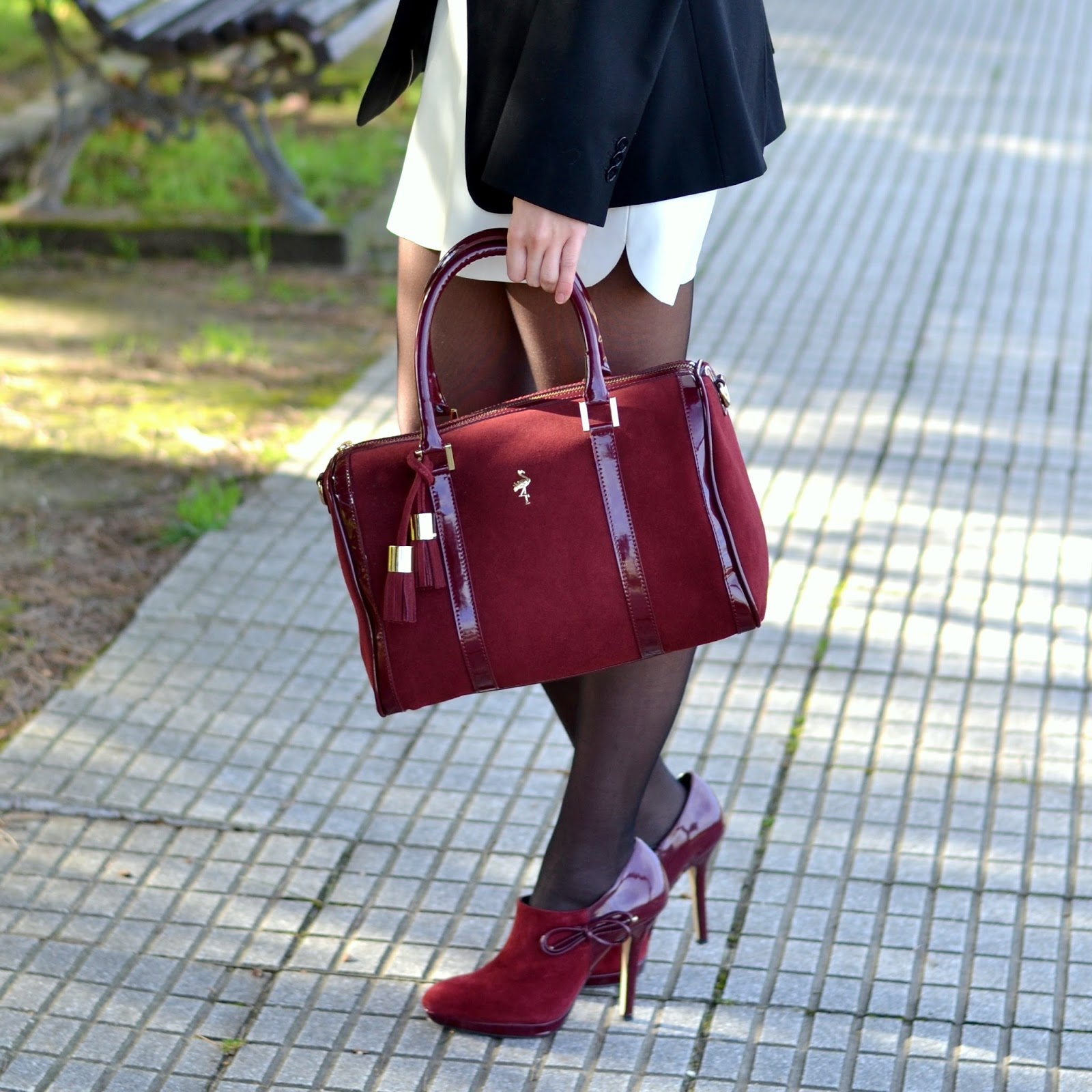 Menbur burgundy heels and bag
