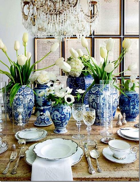ceramica vajilla azul vintage