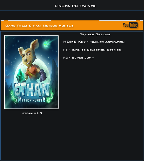 Ethan The Meteor Hunter v1.0 Steam Trainer +2 [LinGon]