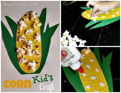 kids corn craft using popcorn