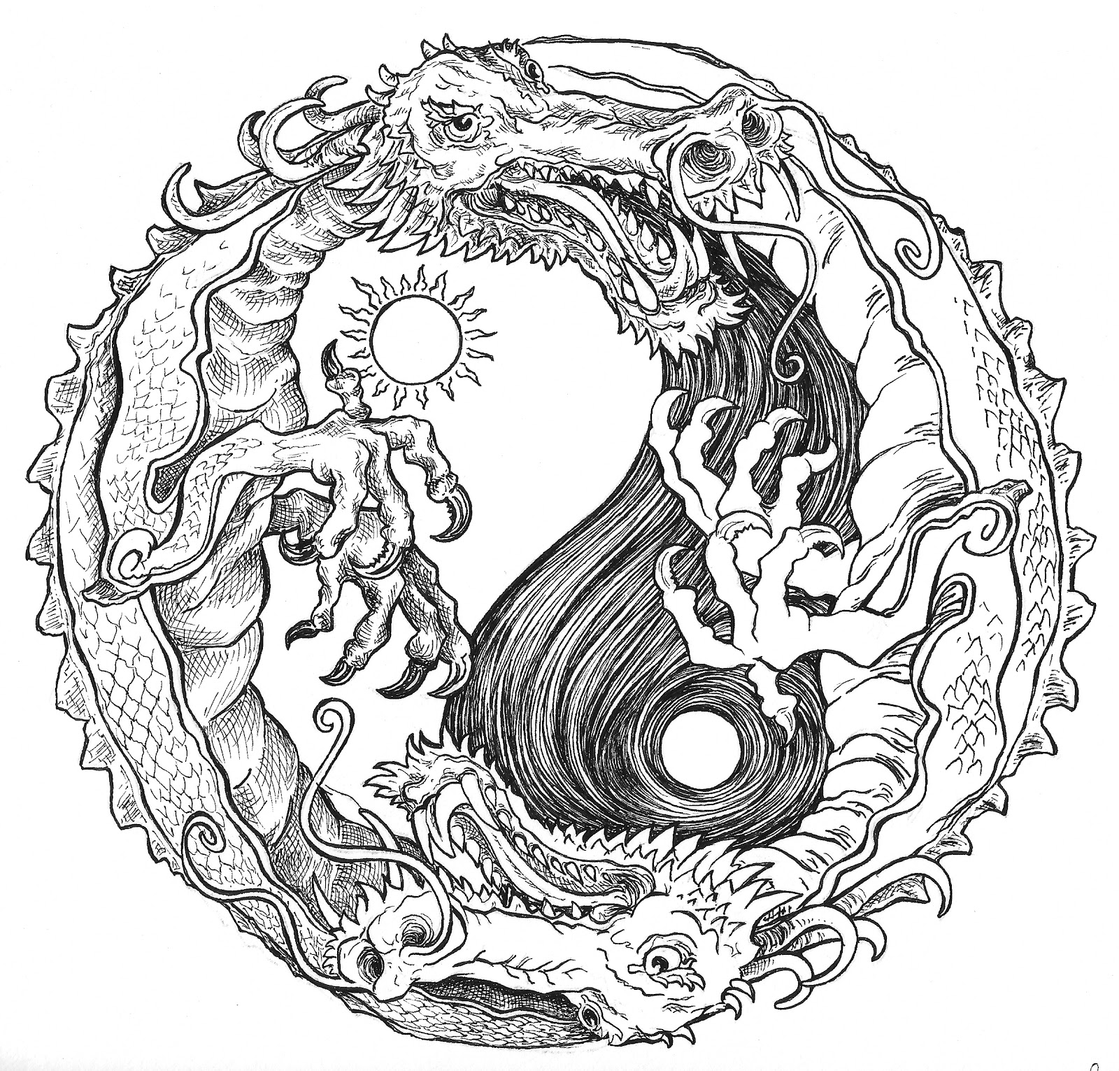 Ying yang dream catcher coloring pages for Ying yang coloring pages